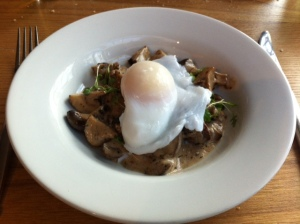Mushroom ragout with poached duck egg