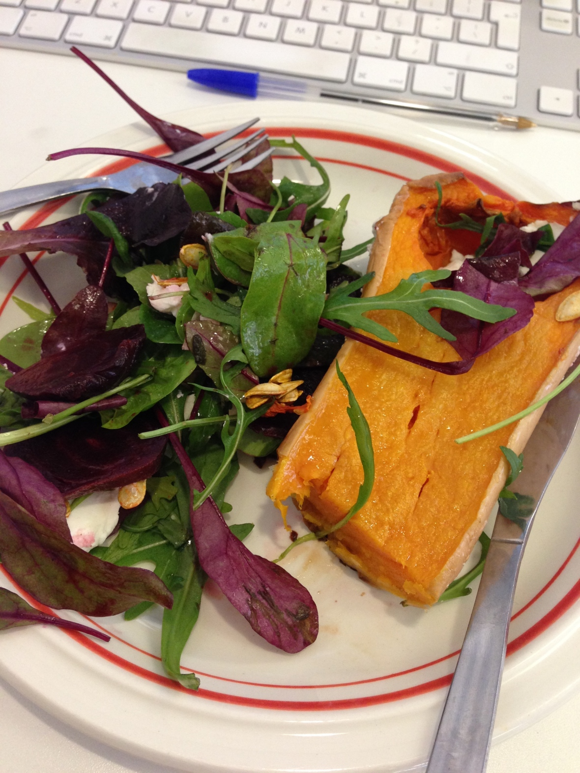 Desk Side Lunches: Roasted Butternut Squash with Beetroot and Goat's Cheese Salad