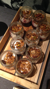 Skyr breakfast muesli pots, with honey and banana base and topped with Natural Skyr Yogurt and toasted granola